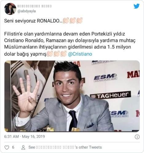 ronaldo filistin bağış