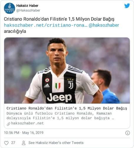 ronaldo filistin bağışı