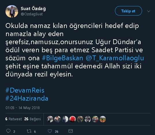 Saadet Partisi tarafından Uğur Dündar'a ödül verildiğini iddia eden sosyal medya paylaşımı