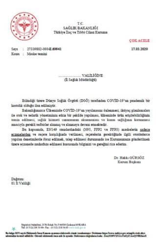 """Sağlık Bakanlığı'nın 17 Mart 2020 tarihli """"maske temini"""" konulu yazısı"""