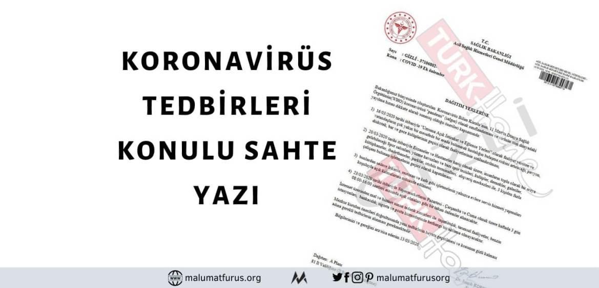 Sosyal Medyada ve İletişim Platformlarında Paylaşılan Koronavirüs Salgınına Karşı Tedbirleri Aktaran Yazı Sağlık Bakanlığı'na Ait Değil