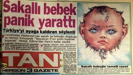 """Tan Gazetesinin Ünlü """"Sakallı Bebek Panik Yarattı"""" manşeti"""