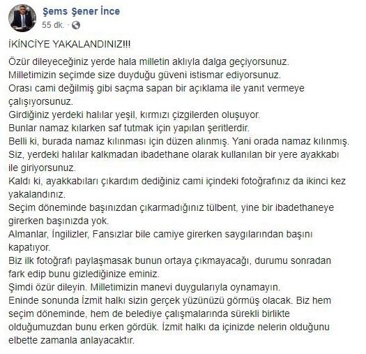 Şems Şener İnce'nin İzmit Belediye Başkanı Fatma Kaplan Hürriyet'in Camiye Ayakkabıyla Girdiği Yönündeki Asılsız İddiasını Sürdürdüğü Paylaşımı