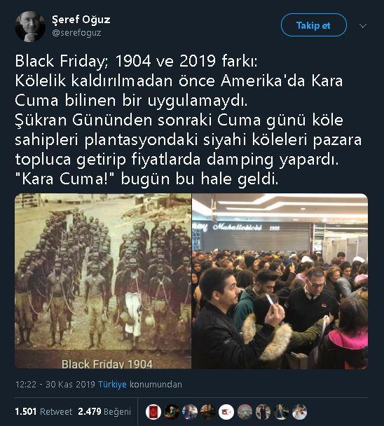 Şeref Oğuz'un Kara Cuma'da satılan kölelere ait iddiasıyla paylaştığı fotoğrafı içeren tweeti