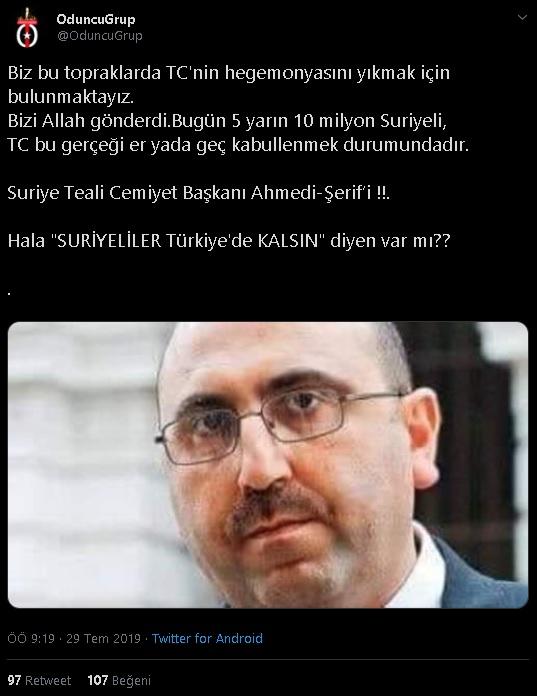 """""""Suriye Teali Cemiyet Başkanı Ahmedi-Şerif'i""""nin """"Biz bu topraklarda TC'nin hegemonyasını yıkmak için bulunmaktayız"""" dediğini iddia eden paylaşım"""