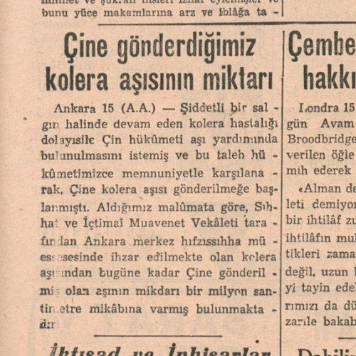 Son Posta Gazetesi'nin Türkiye'nin 1938 yılında Çin'e gönderdiği kolera aşısı hakkındaki haberi