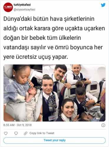 uçakta doğan bebek tüm ülkelerin vatandaşı