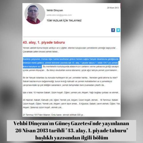 """Vehbi Dinçcan'ın Güneş Gazetesi'ndeki 26 Nisan 2013 tarihli """"43. alay, 1. piyade taburu"""" başlıklı yazısı"""