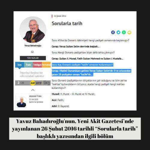"""Yavuz Bahadıroğlu'nun Yeni Akit Gazetesi'ndeki """"Sorularla tarih"""" başlıklı 26 Şubat 2016 tarihli yazısı"""