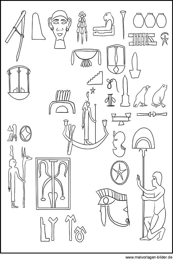 Gyptische Zeichen Hieroglyphen Und Symbole