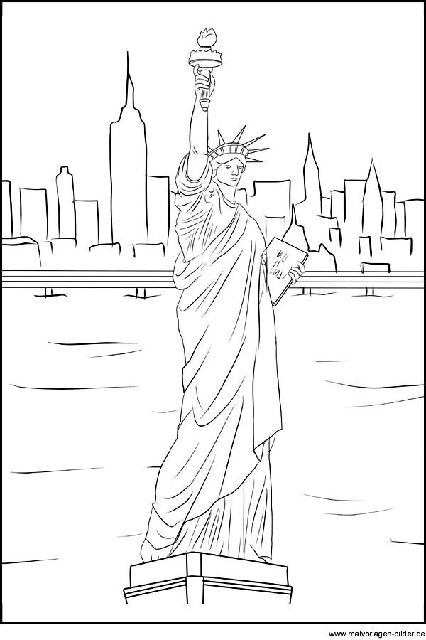 Freiheitsstatue Als Ausmalbild Miss Liberty Und New York