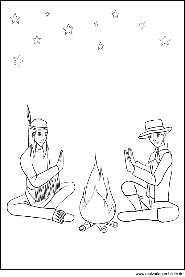 Malvorlage Indianer Und Cowboy Am Lagerfeuer
