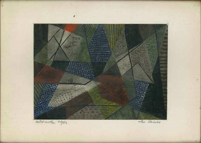 """Dipinto astratto di Albe Steiner """"Valdossola 1944"""""""
