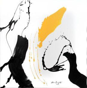 """""""Giallo"""" smalto su tela, 2012, 91x90 cm. Crediti fotografici: Barbara Bernabei"""