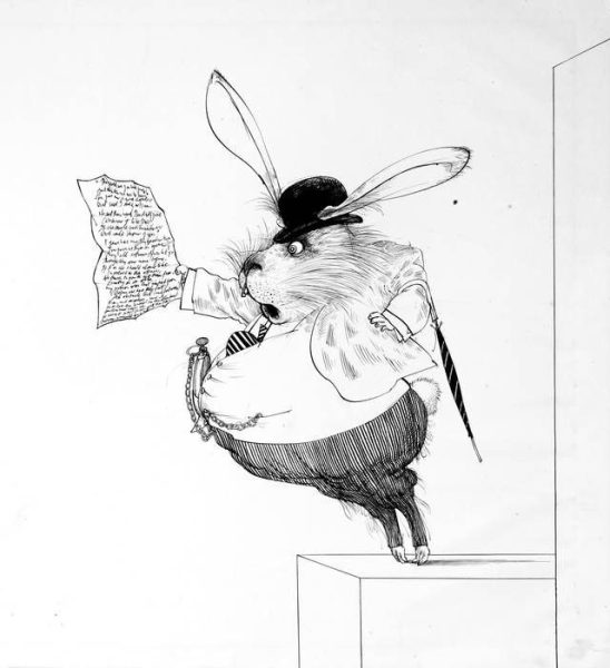 Original drawing of the White Rabbit for the series Alice in Wonderland, Ralph Steadman, 1967