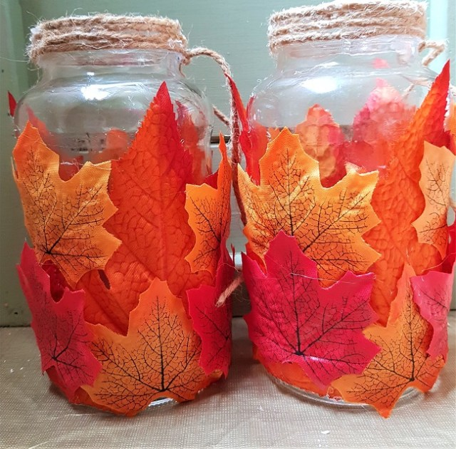 Fall Jar Tea Light Holder