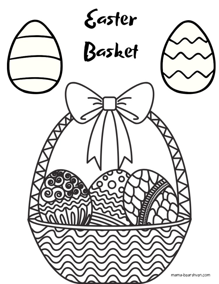 Easter Basket and Eggs Colouring