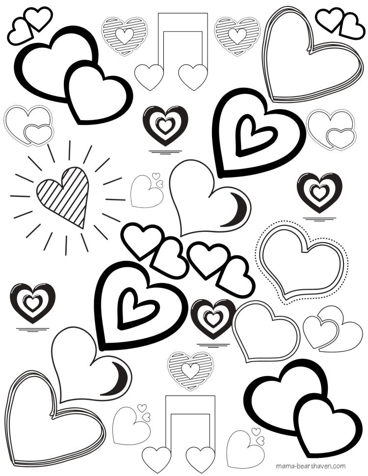 Full of Hearts Colouring Printables for Adults