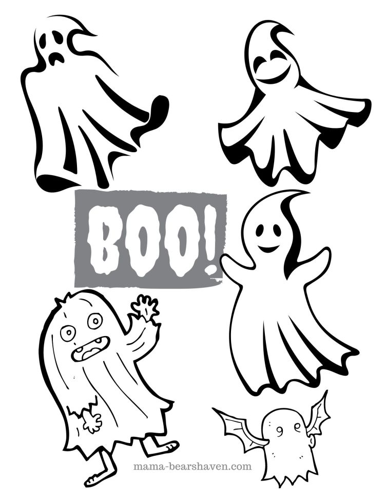 Halloween Ghosts Colouring Printable
