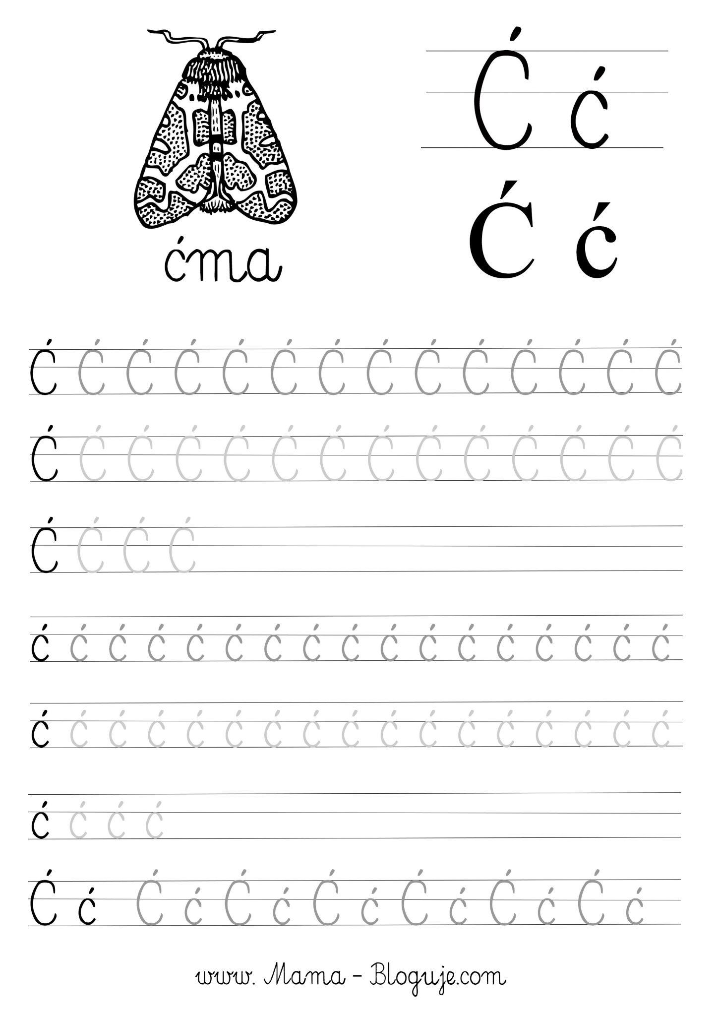 Literka cc nauka pisania - SZABLONY DO NAUKI PISANIA - 🇵🇱 POLSKIE LITERKI - CZ.3 - DO POBRANIA