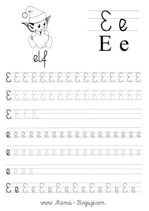nauka pisania literek - szablon literka E