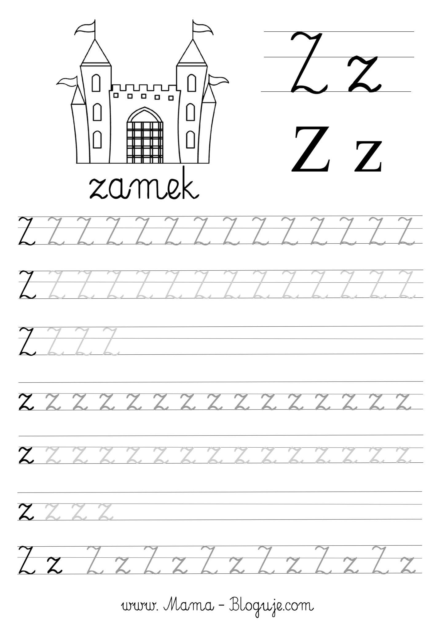 Literka z nauka pisania - SZABLONY DO NAUKI PISANIA LITER - LITERKI M - Z