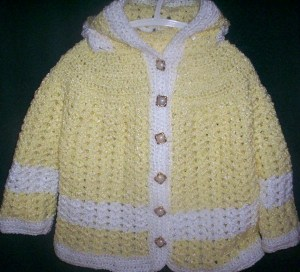 Hooded yellow and white jacket