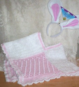 Pink beaded poncho with bunny ears