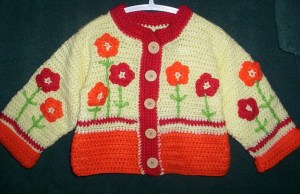 Red and yellow jacket with flower appliques