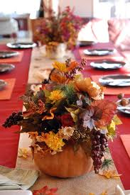 Flowers in pumpkin centrepiece