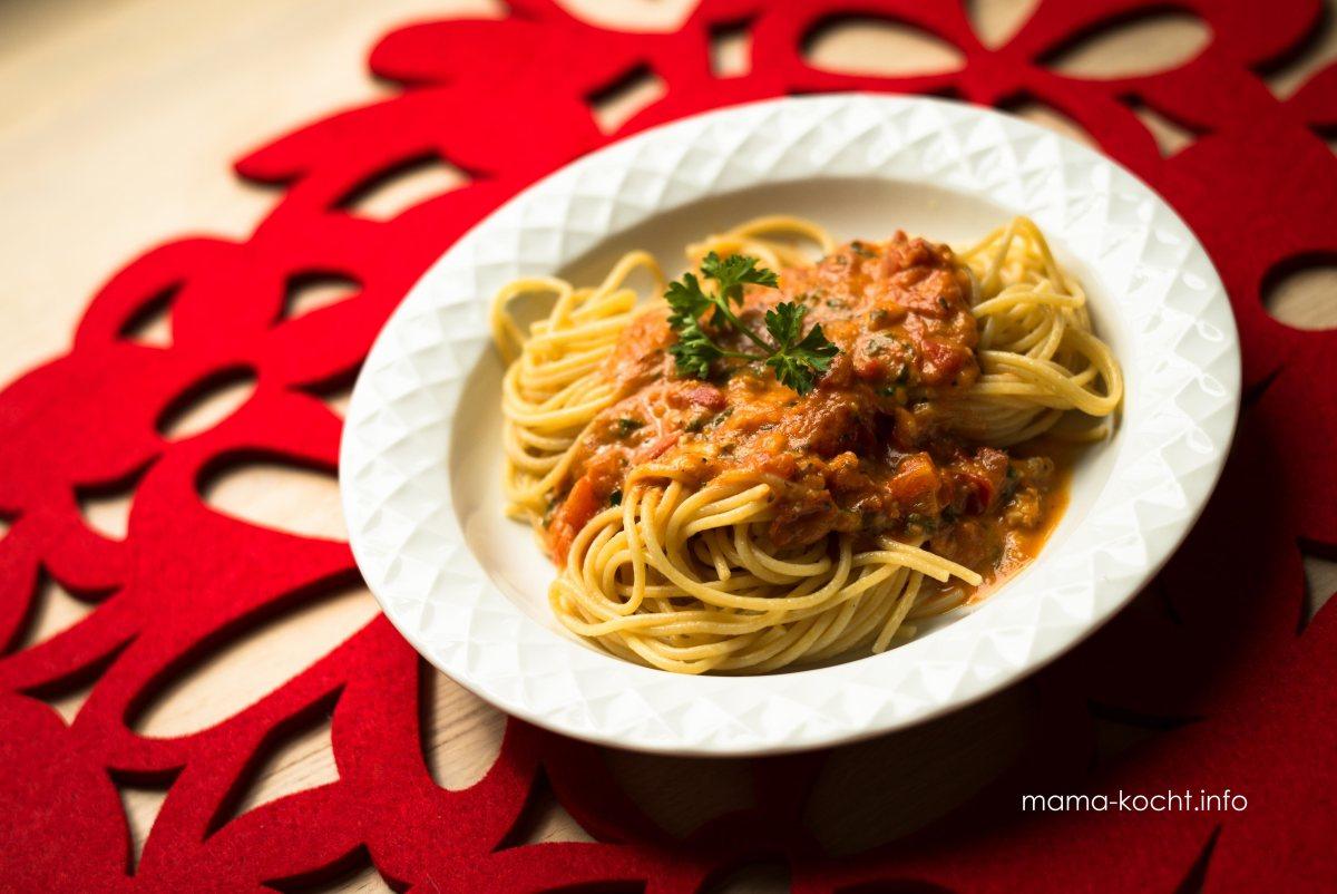 Tomaten-Gorgonzola-Sauce mit Spaghetti