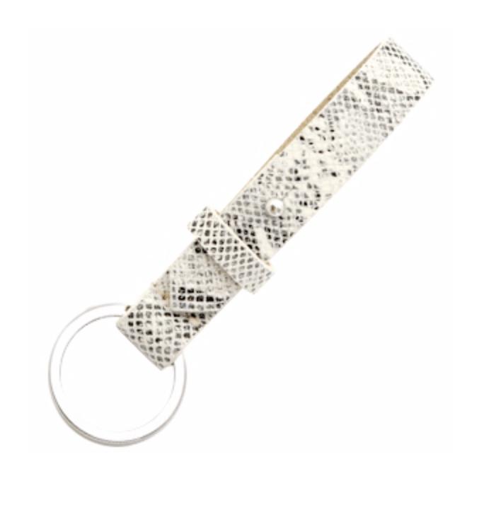MamaBella AS0011 Cuoio chain sleutelhanger snake white gemaakt van florentijns leder
