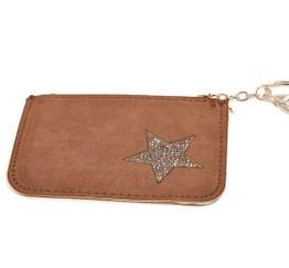 MamaBella AT0009 Kleine lichtbruine geldbeugel of portemonee voor dames met sleutelhanger. Handig om sleutels aan te hangen en kaarten of geld in te bewaren