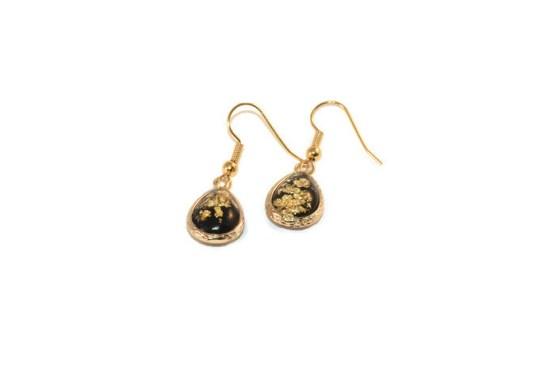 MamaBella OD0018 Ovale Drop Black Gold Oorbellen
