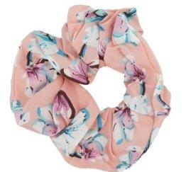 MamaBella AH0031 Zalmroze Bloemen Scrunchie