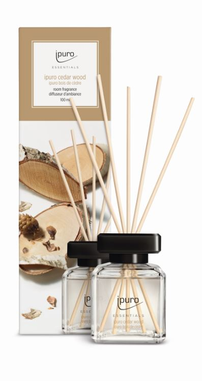 Essentials by Ipuro Geurstokjes cedar wood 100 ml room fragrances geurdiffuser aromadiffuser huisparfum EAN4051281983625 MamaBella Juwelen en accessoires