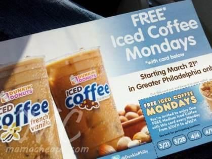 dunkin donuts philadelphia free iced coffee