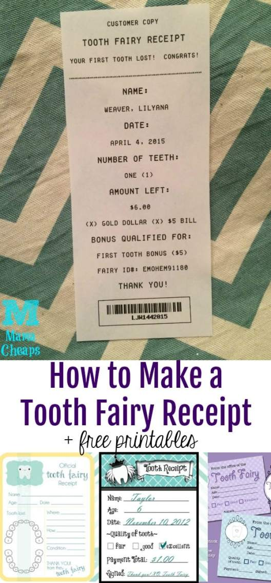 Free Printable Tooth Fairy Receipts Several To Choose