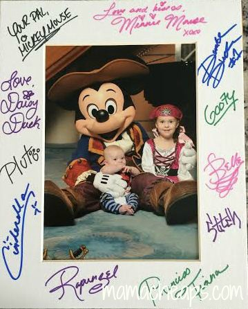 disney cruise autographed with kids pic