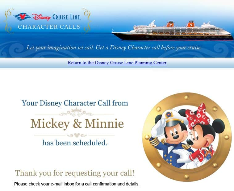 disney cruise character call