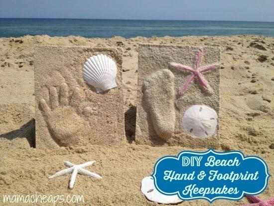 diy beach handprint footprint craft frame title