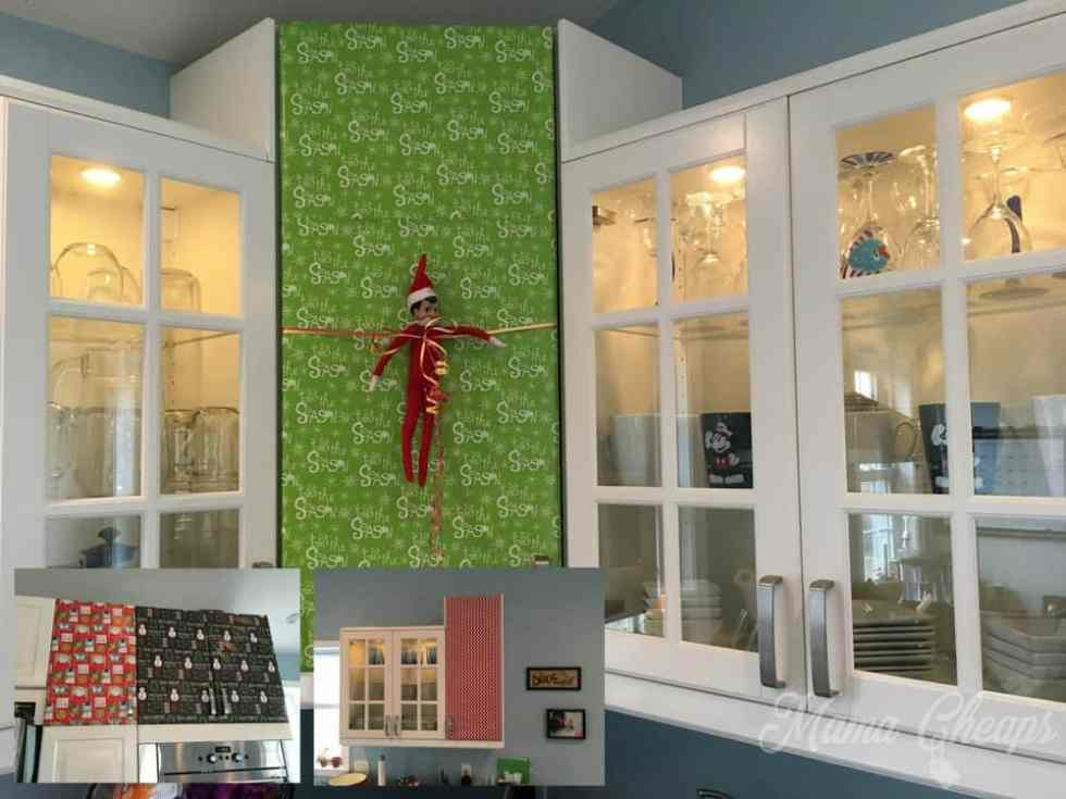 Elf Wraps Cabinets in Wrapping Paper