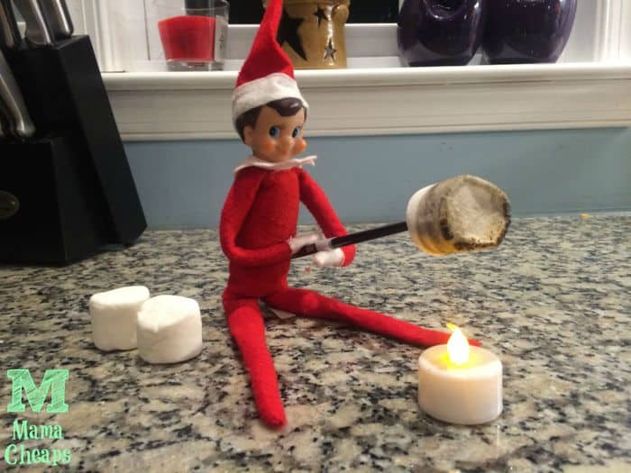 elf on the shelf roasting marshmallows