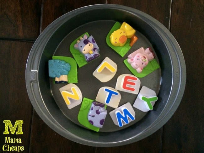 magnets on cake tray car road trip boredom buster toddler