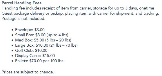 disney resort parcel handling fees