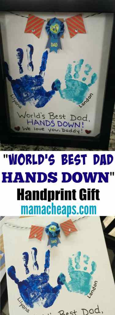 Worlds Best Dad Hands Down Handprint Gift