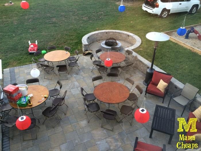 birthday party prep patio