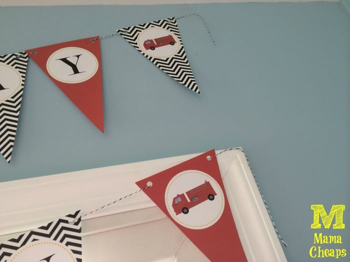 fire truck birthday party banner hanging up