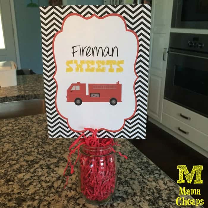 fire truck party sign