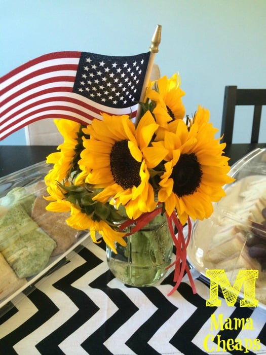sunflower centerpiece american flag